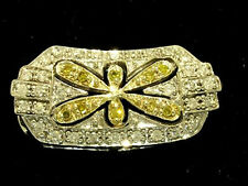 P047- GENUINE 9ct Solid White GOLD Yellow DIAMOND Butterfly Slider Pendant