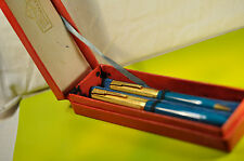 """UNION""  Russian Fountain Pen&Pencil Pen Sets.Greens/GT w/Original Box c.1961's"