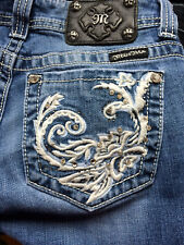 Womens Miss Me Boot Jeans 26X32 Embroidered Rhinestones Embellished JP5149