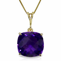Genuine Amethyst Cushion Cut Gemstone Solitaire Pendant Necklace 14K. Solid Gold