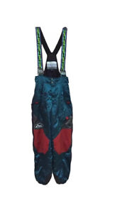 Vintage Team Asics JAPAN suspender trouser Quilting Ski Wear multi-color Fashion