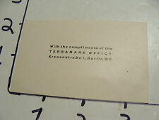 Vintage Travel Paper: vintage business card BERLIN TERRAMARE OFFICE