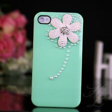 Apple iPhone 4 4S Hard Case Cover Hülle Etui Perlen Steine 3D Blume Minz Grün