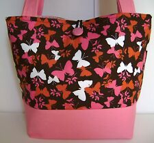 PINK & BROWN BUTTERFLY HANDBAG PURSE TOTE BAG POCKETBOOK RETRO MOD FASHION