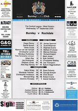 Teamsheet - Burnley Reserves v Rochdale Reserves 2008/9