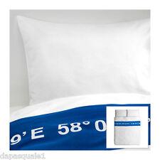 IKEA LISEL - Duvet Cover and 2 Pillowcases Full/Queen White Blue Cotton Sateen