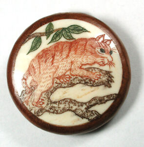 """Carved Bone Button Detailed Cat in Tree Set in Wood - 1 & 3/8"""""""