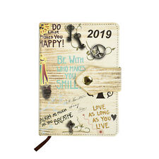 2019 A6 Day a Page Monthly Indexed Soft Cover Organiser Diary - Slogan Art