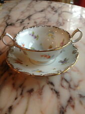 ANTIQUE RL DRESDEN TEA CUP & SAUCER PORCELAIN FLOWERS RARE FIND