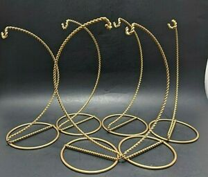 """Ornament Display Stand Twisted Wire Hanger Holders, 9"""" Tall Gold Lot of 6"""