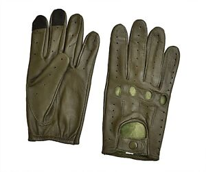 Men's Real Leather Texting Driving Gloves Sensitive TouchPad FREE RETURN (Olive)