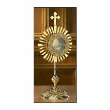 Brass Cross Monstrance with Luna, 17 3/4 Inch