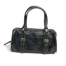LIZ CLAIBORNE Accessories Black Zip Top Buckle Barrel Duffle Satchel Handbag Bag