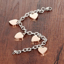 Heart Charms Bracelet Fashion Jewelry Female's Stainless Steel 18K Rose Gold