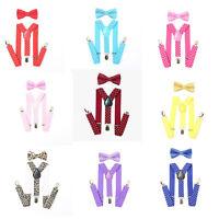 Baby Adjustable Suspender and Bow Tie Set for  Toddler Boys Girls Children