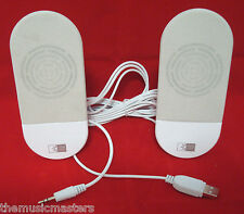 External Compact Mini Audio Computer Speakers Stereo Sound USB Powered Amp White