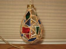 CLEAR ACRYLIC STAINED GLASS LOOK TEARDROP ORNAMENT W/ GOLD SEAMS