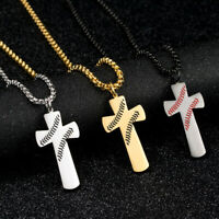 Men Silver Gold Stainless Steel Sport  Baseball Cross Pendant Necklace Chain 24""