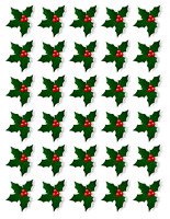30 X HOLLY & BERRY LEAVES - CHRISTMAS - EDIBLE CUPCAKE CAKE TOPPERS D4