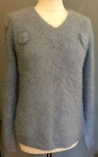 PRELOVED 'HAND MADE KNIT' LIGHT BLUE MOHAIR BLEND PULLOVER- SWEATER - JUMPER 38""