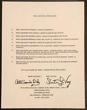 The 9 Satanic Statements Anton LaVey Signed Original Stanton LaVey Satanism 666