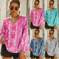 Women Long Bell Sleeve V Neck T-Shirt Baggy Loose Blouse Tunic Tee Top Plus Size