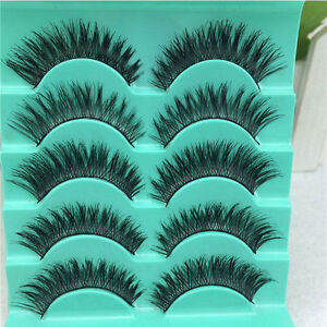 5 Pairs Long Natural Thick Handmade Fake False Eyelashes Eye Lashes Also Mink