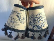 2 Blue Toile Tassel Fringe Lampshades 5 Inches Tall Flame Bulbs Clips