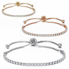 18ct/18k Gold Plated Adjustable Crystal Tennis Friendship Fashion Bracelet CZ