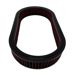 """15 """" Oval Washable Air Cleaner Filter, Red, Reusable, Fits Ford, Chevy"""