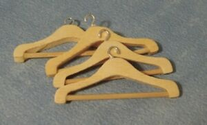 1/12th Scale Dolls House Pack of 4 Wooden Coat Hangers.