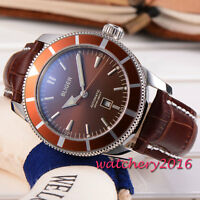 New 46mm BLIGER brown dial stainless case date Automatic Movement men's Watch