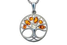 Tree of Life Pendant Necklace Sterling Silver 925 Baltic Amber Jewellery +Chain