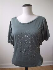 Eye Candy Medium Studded Embellished short sleeve top knit shirt Green
