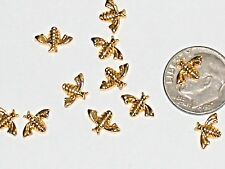 plated nail Bee bug charm 6mm 2pc Miniature dollhouse super tiny little Gold