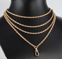 Antique Victorian 10Ct Gold Guard / Muff Long Chain Necklace 62 inches, c 1880's