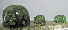 Canada British Columbia Jade Carving of A Bear & Her Two Cubs ca. 20th century