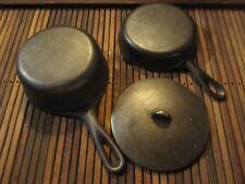 Vintage Cast Iron Skillet,Pot,Lid Lot  Wagner Ware Sidney O