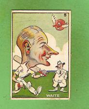 1938 SWEETACRES CRICKET CARIACTURE CARD #5  M. G. WAITE (SA)