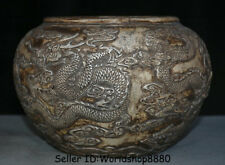 "8.4"" Qianlong Marked Old China Silver Dynasty Dragon Bead Pot Jar Crock Censer"