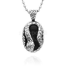 Hot Fashion Jewelry Men's Snake Pendant Ball Beads Chain Necklace Black