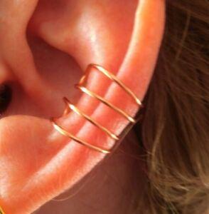 Minimalist EAR CUFF 4 band ear cuff Handmade non piercing Earcuff Gold Silver UK