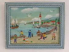 "Charlotte Julian - "" Le phare "" - Art Naïf - Tableau original -"