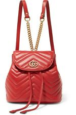 Gucci GG Marmont Red Leather Classic Backpack Bag Gold Chain