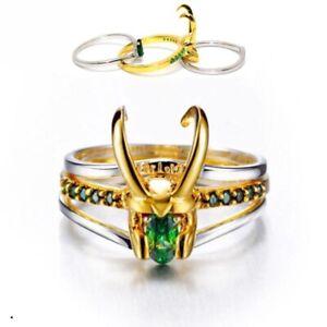 Xcoser Loki Ring Silver Material God of Evil New Superhero Fashion Jewelry Thor