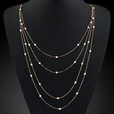 Fashion Women Choker Chunky Statement Bib Pearl Chain Pendant Necklace Jewelry