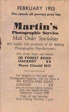 Vintage Martin's Photographic Service of Hackney Catalogue, February 1953