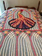 Vintage Peacock Chenille Bedspread Blue 1950's Double Full-sized Bed Colorful