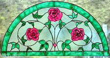 WICOART WINDOW COLOR STICKER CLING FAUX STAINED GLASS DEMI CERCLE 28X14 ROSES