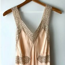 New listing Vintage 40s Marshall Field & Co Bias Cut Lace Nightgown Slip Silk Bemberg Blend